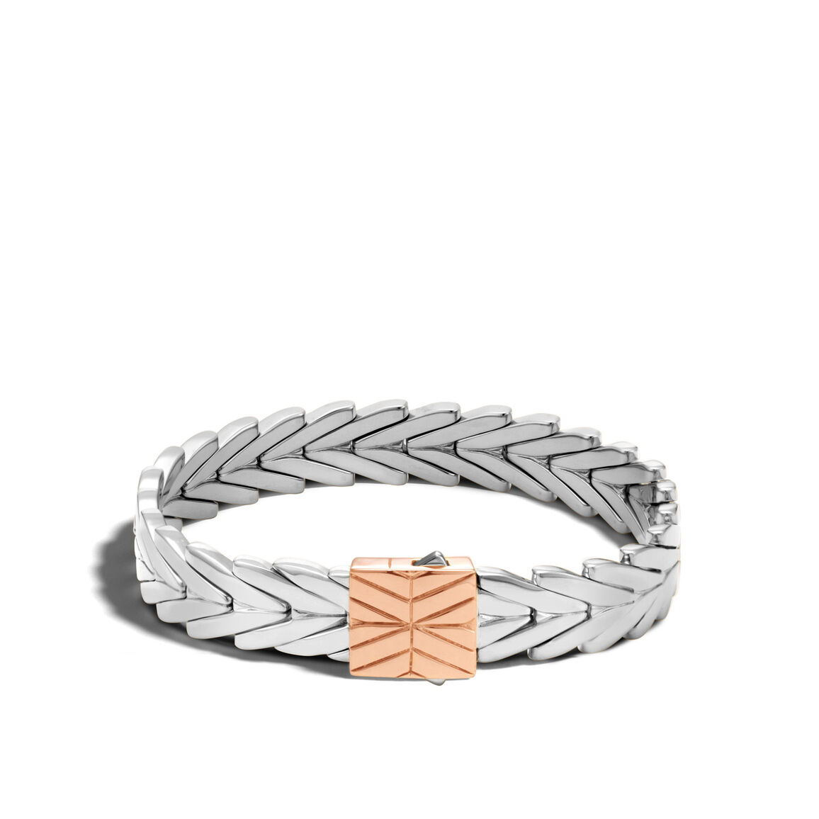 Modern Chain 11MM Bracelet in Silver and 18K Rose Gold