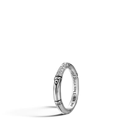 Bamboo 3.5MM Band Ring in Silver with Diamonds