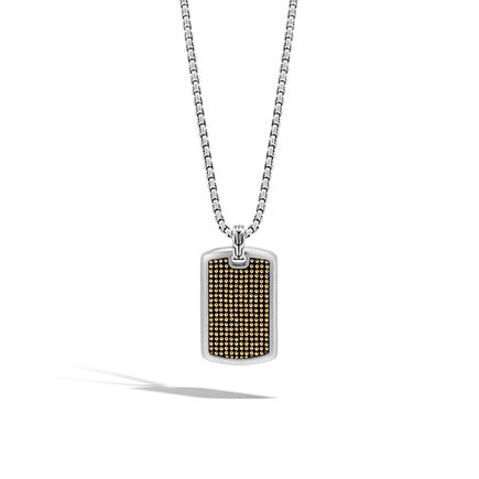 Chain Jawan Large Dog Tag Necklace in Silver and 18K Gold