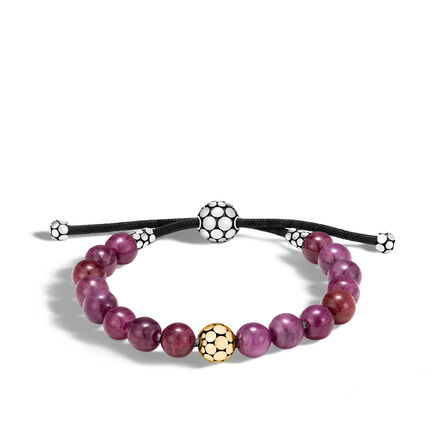 Dot Bead Bracelet in Silver and 18K Gold with 8MM Gemstone