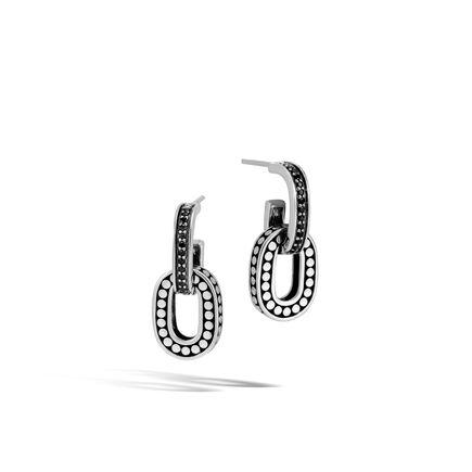 Dot Drop Earring in Silver with Gemstone