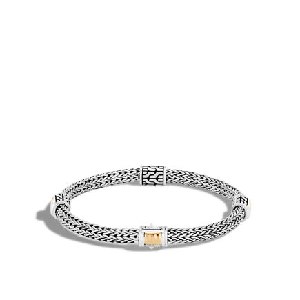 Classic Chain 5MM Hammered Station Bracelet, Silver, 18K