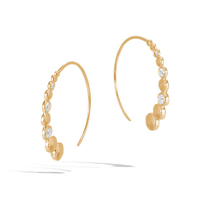 Dot Small Hoop Earring in Hammered 18K Gold with Diamonds