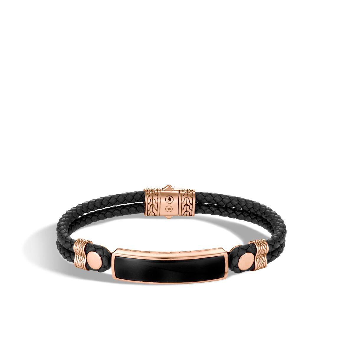Classic Chain Station Bracelet in Bronze, Onyx and Leather