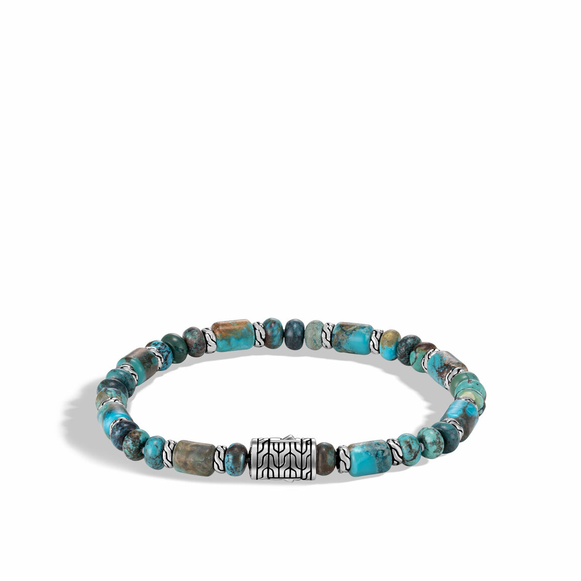 Classic Chain Bead Bracelet, Silver with Gemstone
