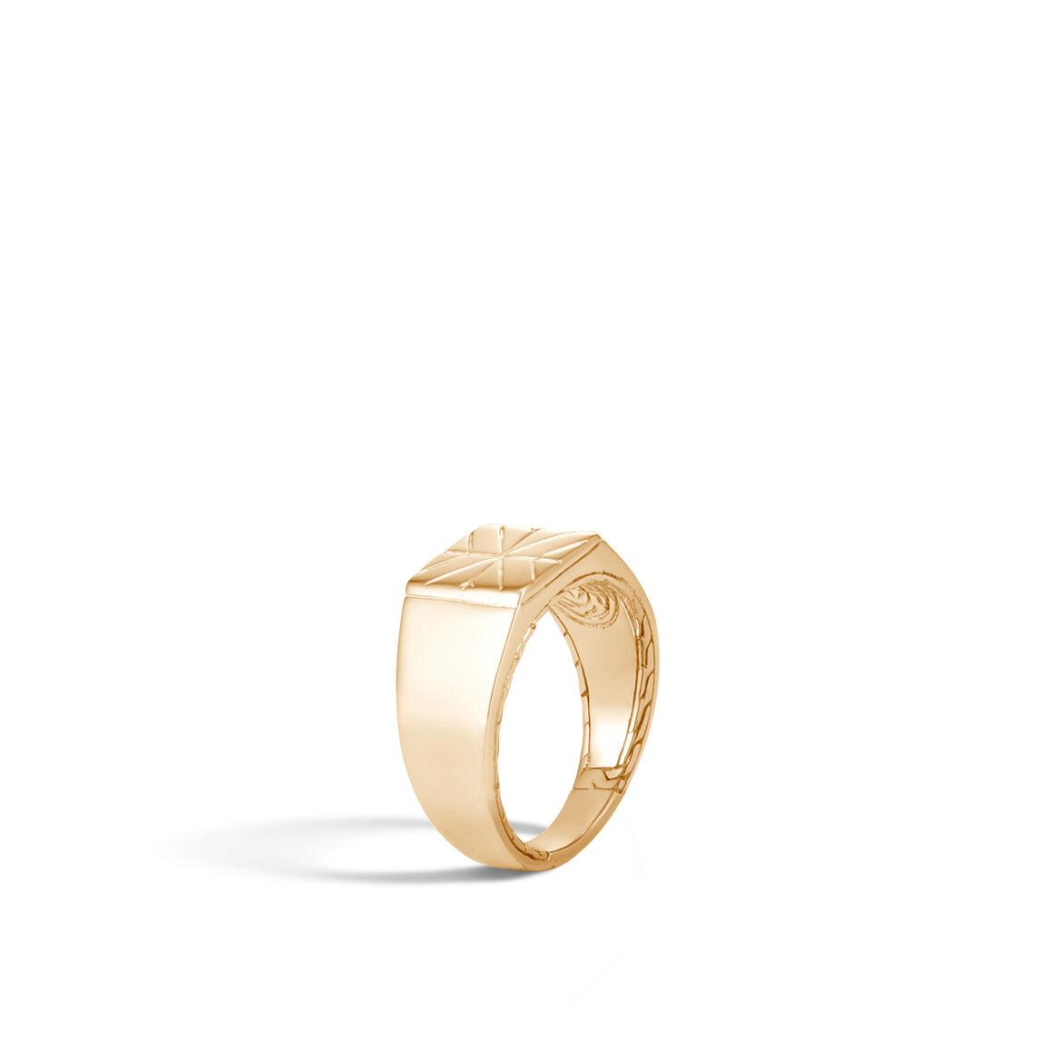 Modern Chain Signet Ring in 18K Gold