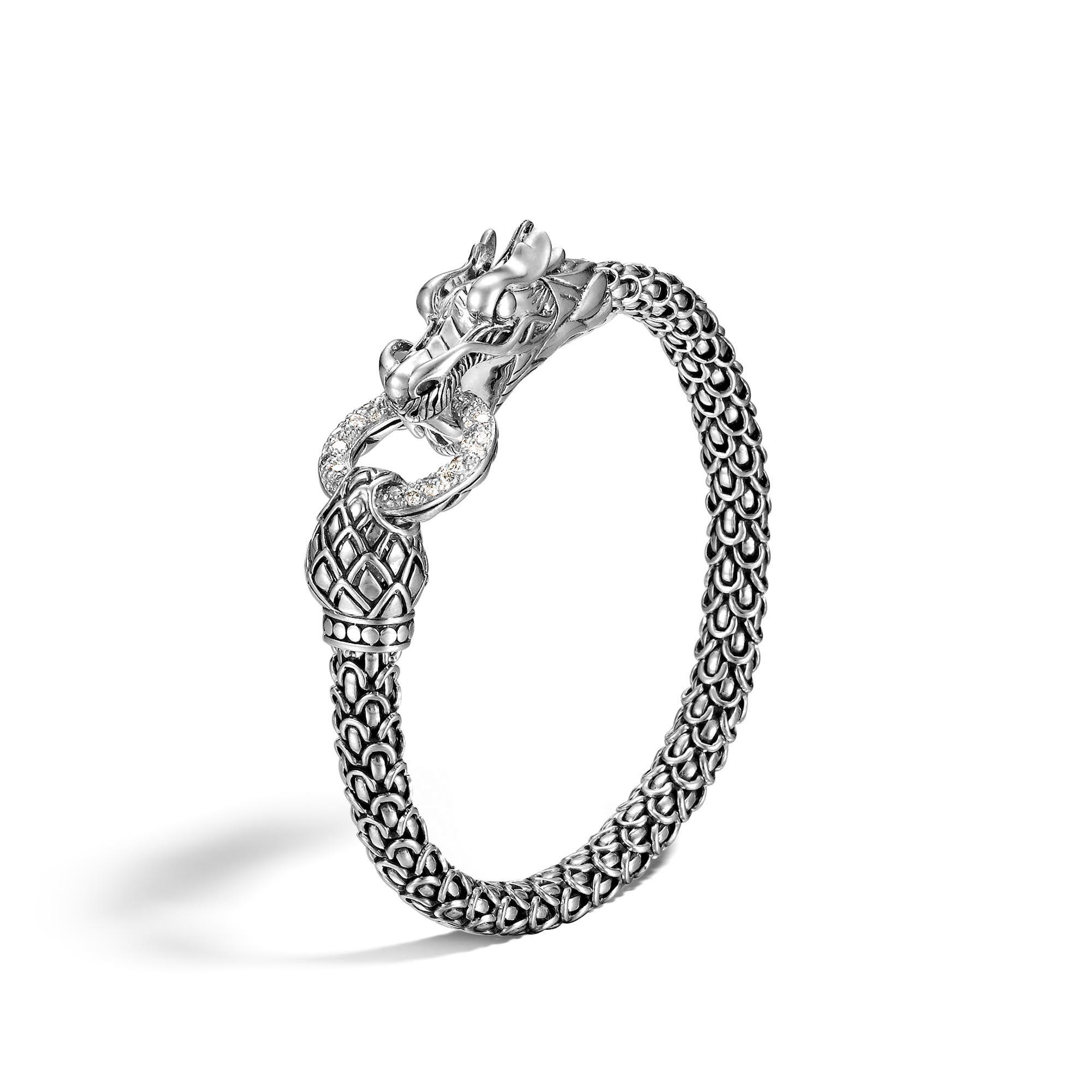 John Hardy Naga Bracelet With Diamonds S White diamond 6IW96u