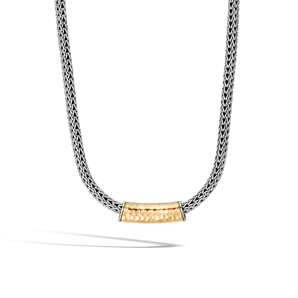 Classic Chain Pendant in Silver and Hammered 18K Gold
