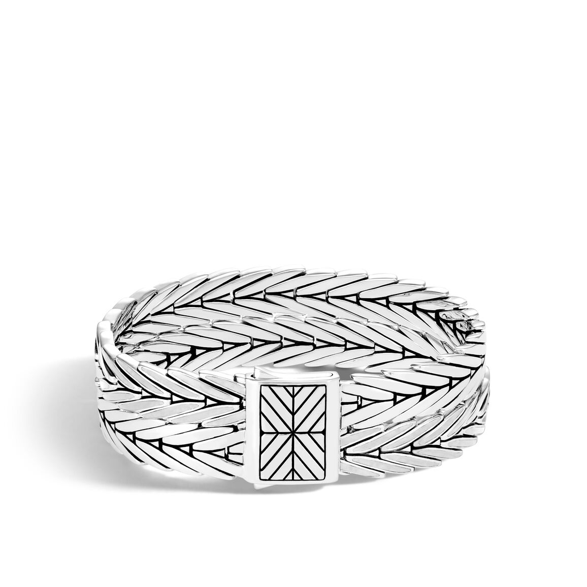 Modern Chain Double Row Bracelet in Silver and Enamel