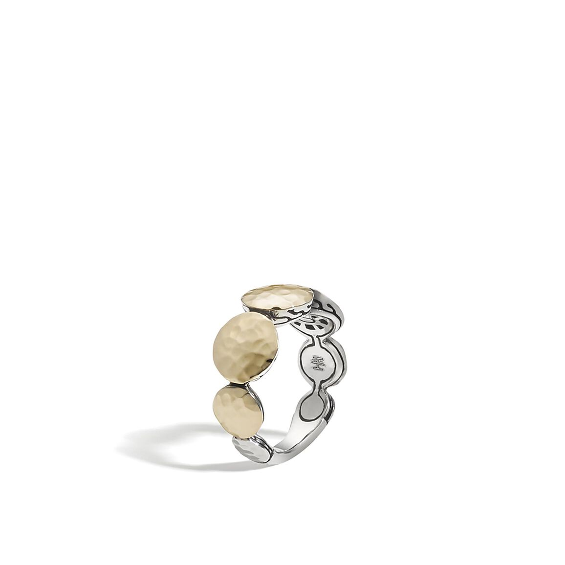 Dot 9MM Band Ring in Silver and Hammered 18K Gold