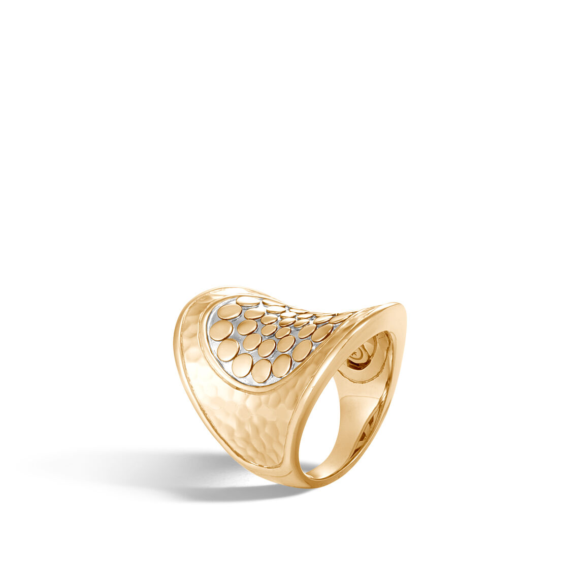 Dot Saddle Ring in Hammered 18K Gold with Diamonds
