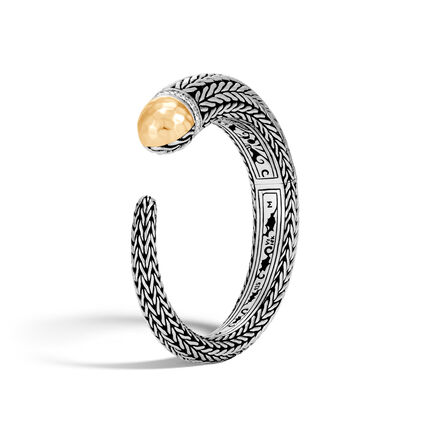 Classic Chain 13.5MM Cuff, Silver, Hammered 18K Gold ,Dia