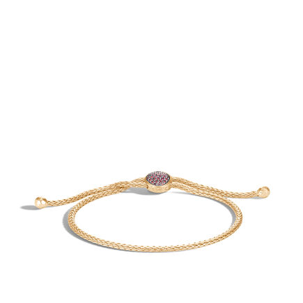 Classic Chain Pull Through Bracelet in 18K Gold with Gemstone