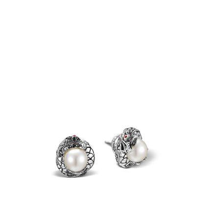 Legends Naga Button Earring in Silver,  11MM Pearl, Gemstone