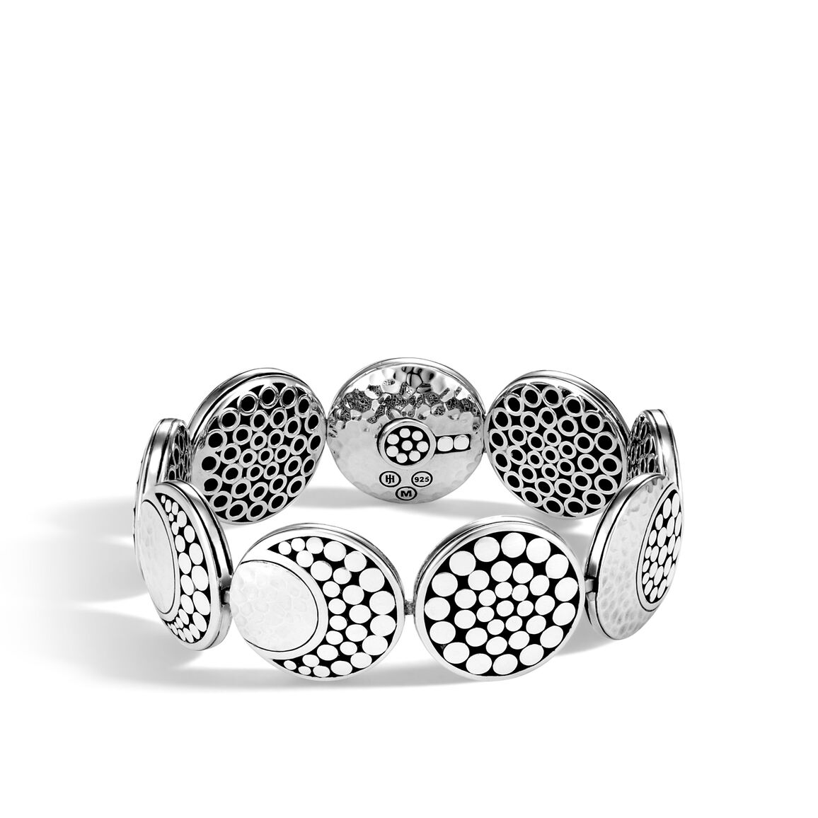 Dot Moon Phase Link Bracelet in Hammered Silver
