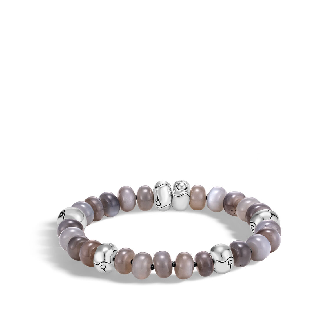 Bamboo Bead Bracelet in Silver with Gemstone