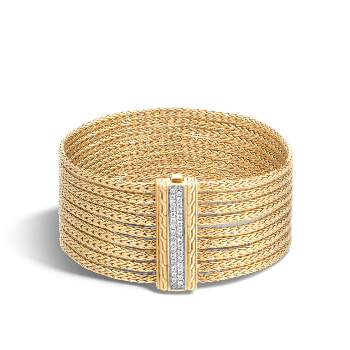 Classic Chain Nine Row Bracelet in 18K Gold with Diamonds