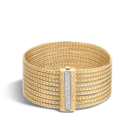 Classic Chain Nine Row Bracelet in 18K Gold with Diamonds