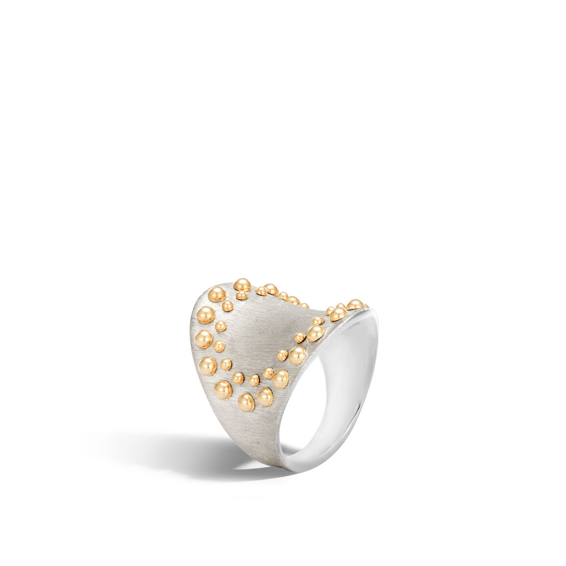 Dot Saddle Ring in Brushed Silver and 18K Gold