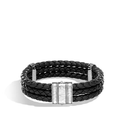Chain Triple Row Bracelet in Hammered Silver,  Leather