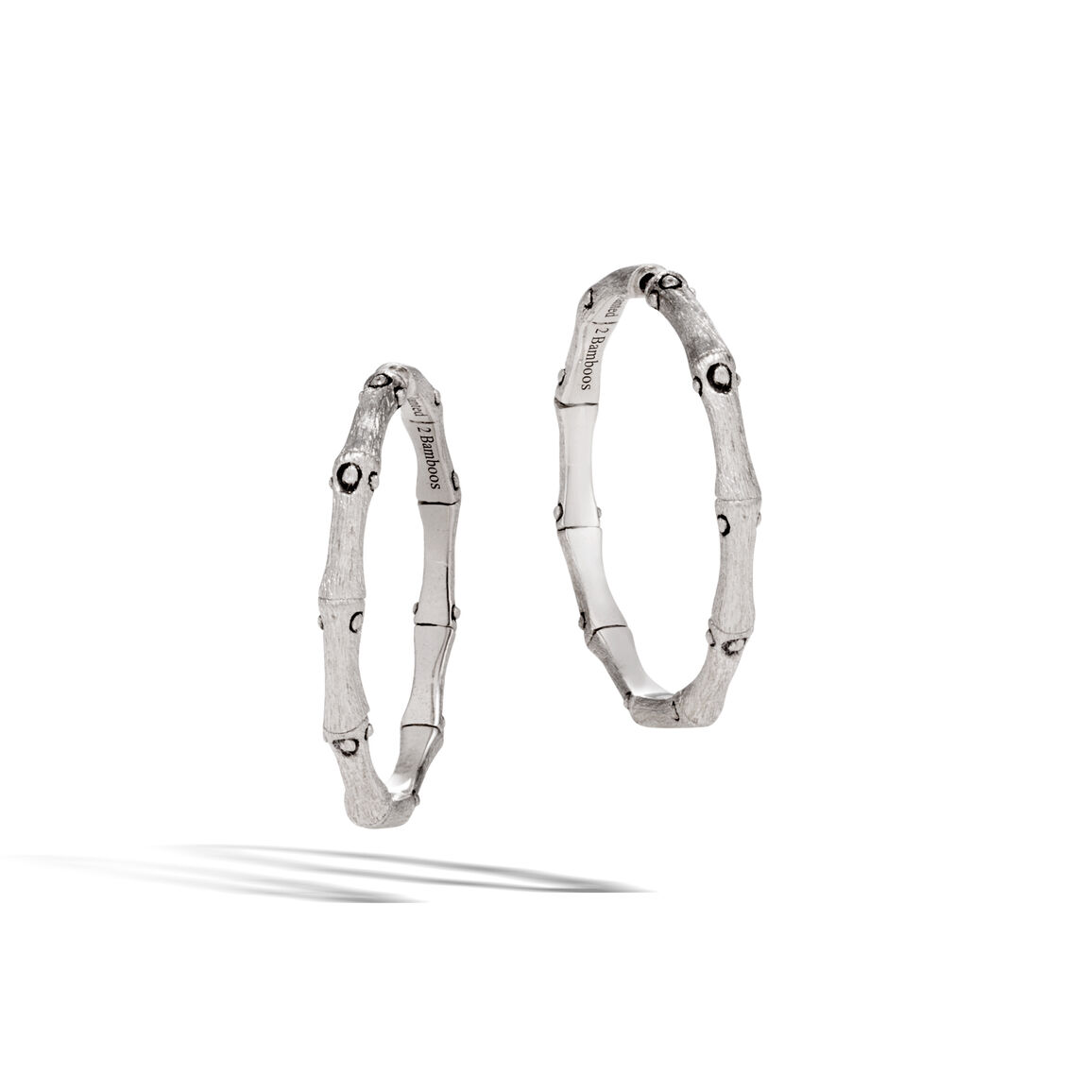 Bamboo Medium Hoop Earring in Brushed Silver