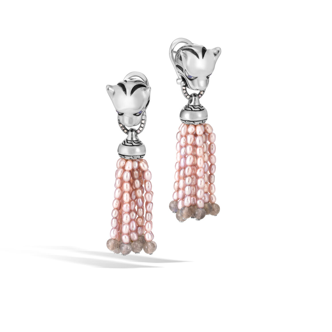 Legends Macan Drop Earring in Silver with Pearl, Gemstone