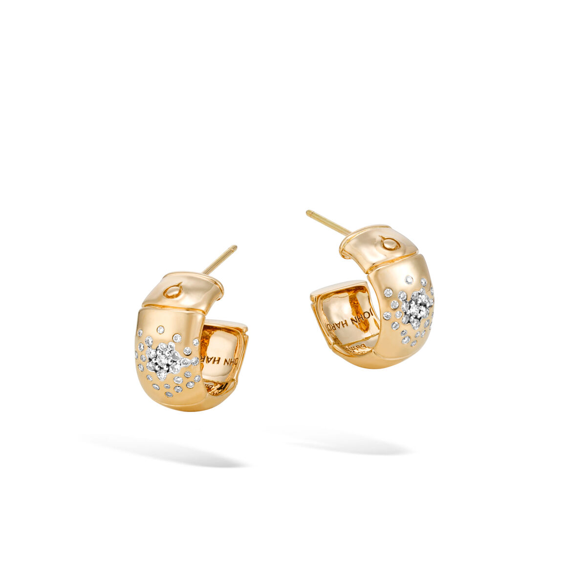 Bamboo Small Hoop Earring in 18K Gold with Diamonds