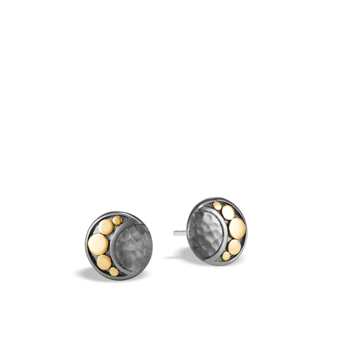 Dot Moon Phase Stud Earring, Hammered Blackened Silver, 18K