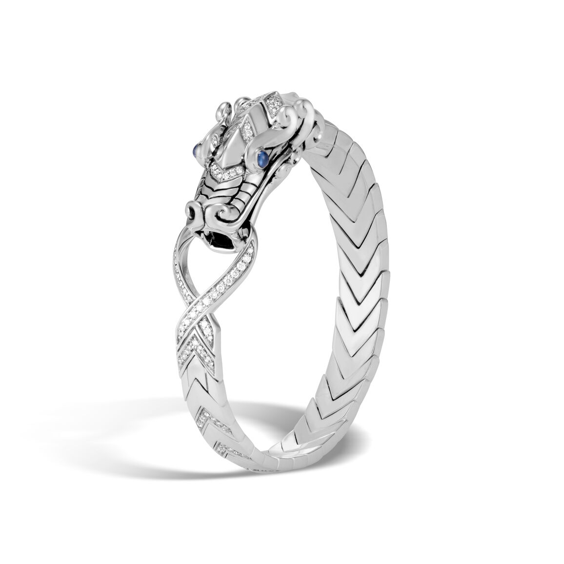 Legends Naga Station Bracelet in Silver with Diamonds