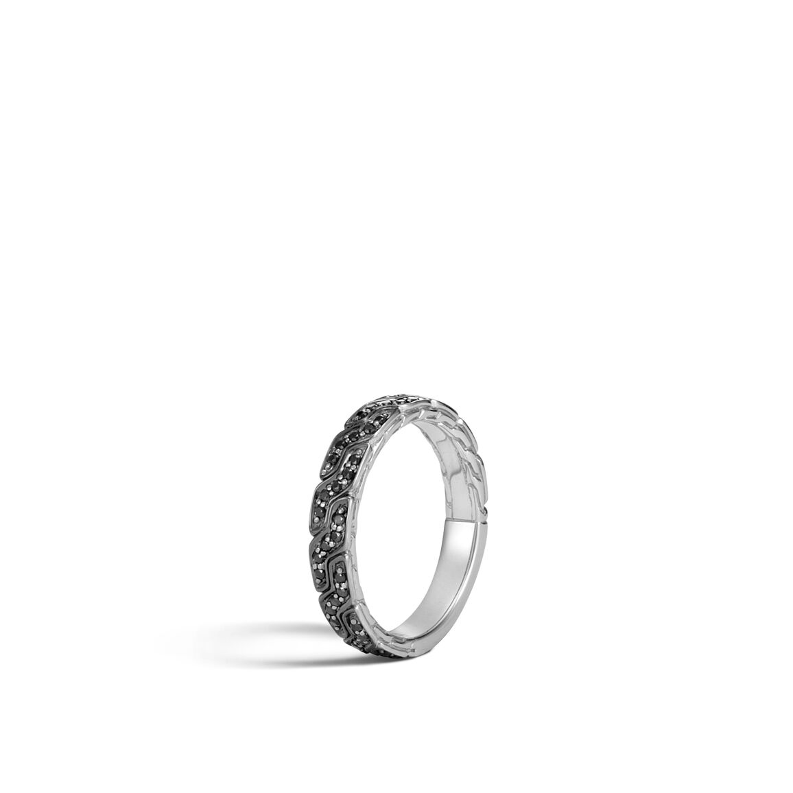 Classic Chain 4MM Band Ring in 18K White Gold, Gemstone