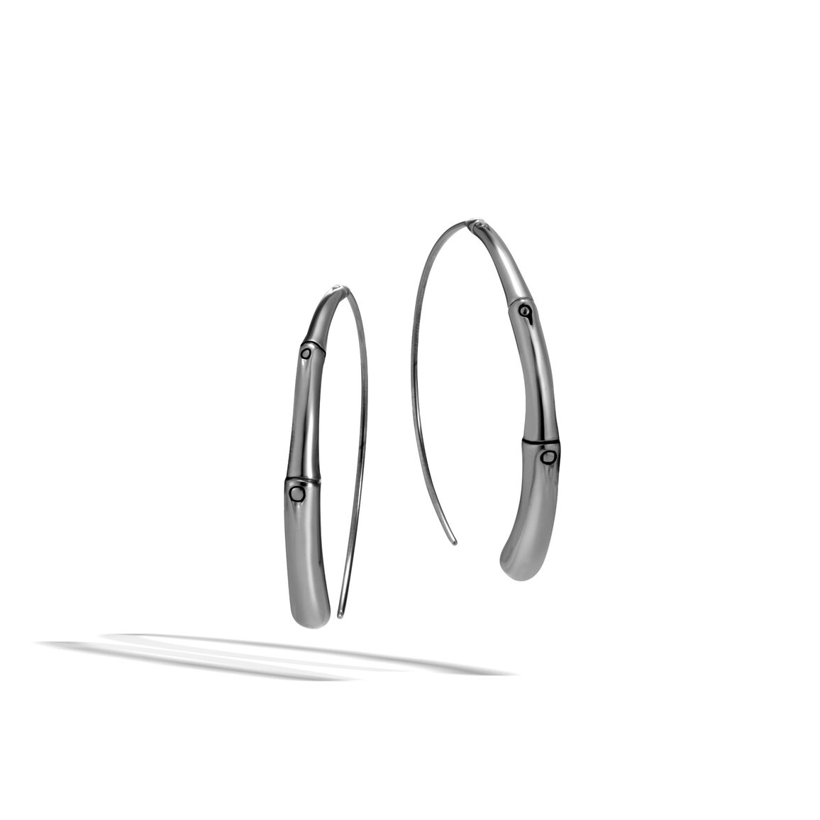 Bamboo Small Hoop Earring in Blackened Silver