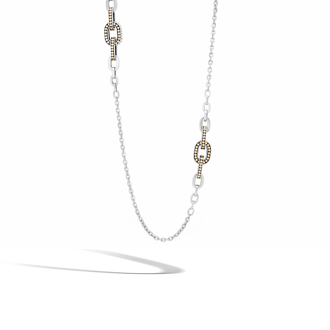 Dot Link Necklace in Silver and Brushed 18K Gold