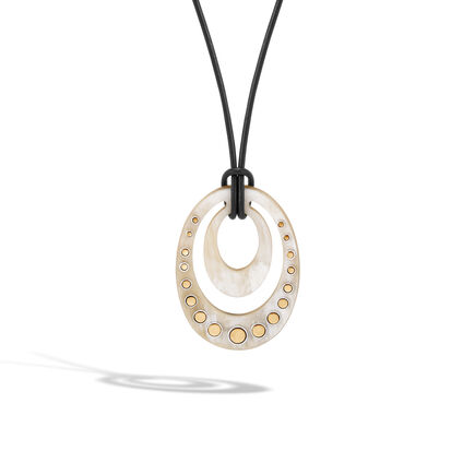 Dot Pendant Necklace, in Silver, 18K Gold and Buffalo Horn