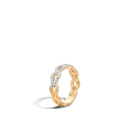 Bamboo Band Ring  in 18K Gold with Diamonds