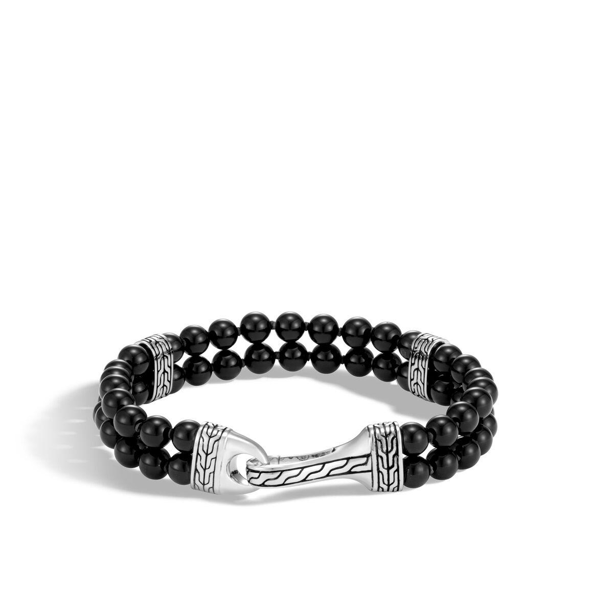 Classic Chain Double Row Bead Bracelet in Silver, Gemstone