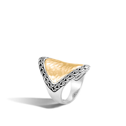 Classic Chain Saddle Ring in Silver and Hammered 18K Gold