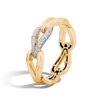 Bamboo 21.5MM Hinged Bangle in 18K Gold with Diamonds
