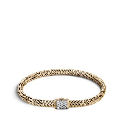 Classic Chain 5MM Bracelet in 18K Gold with Diamonds