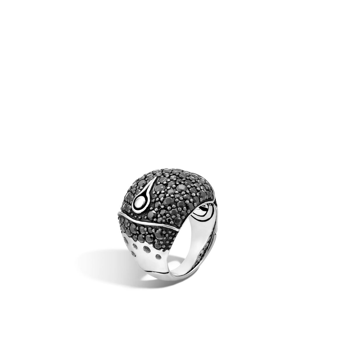 Bamboo Dome Ring in Silver with Gemstone