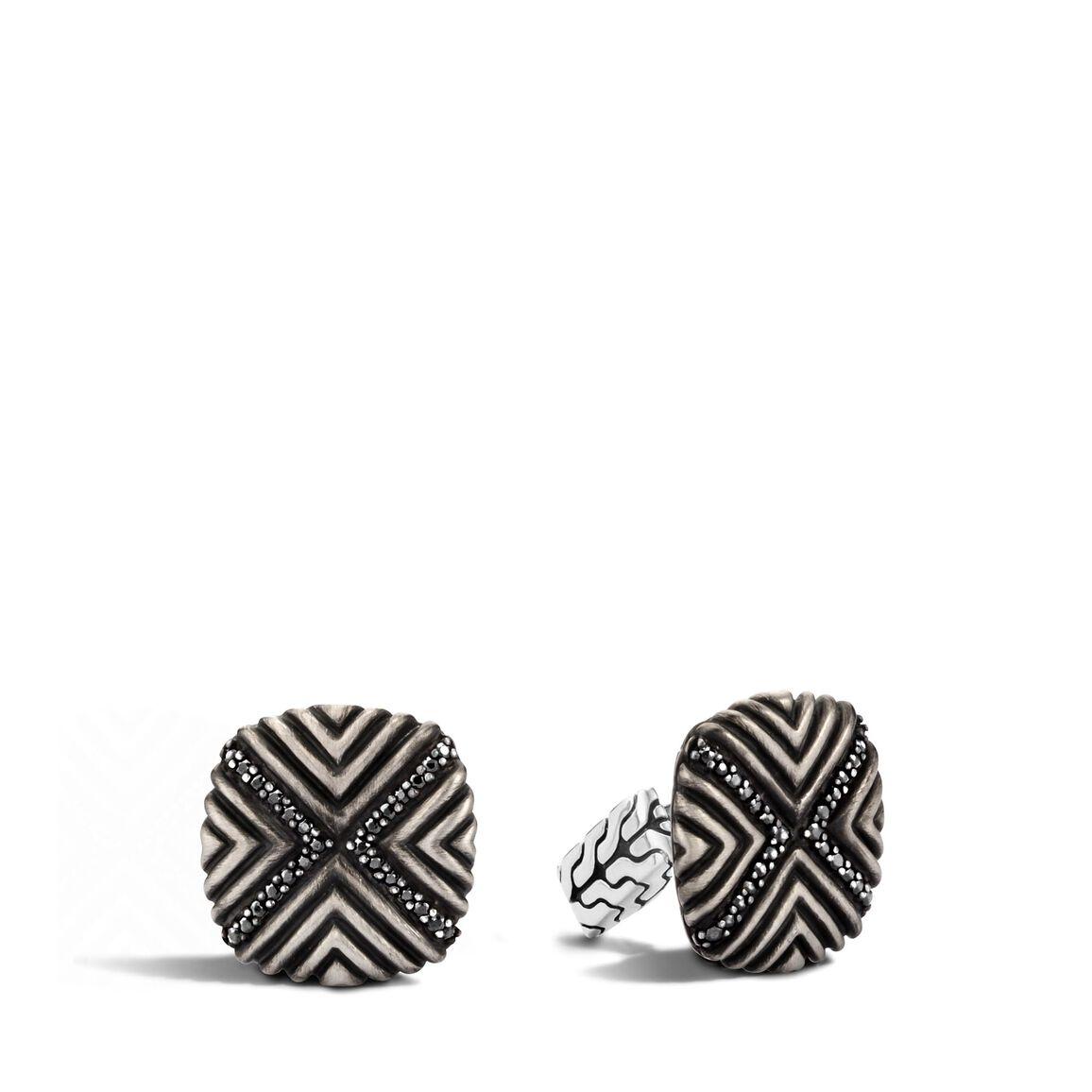 Men's Bedeg Cufflinks in Silver with Gemstone