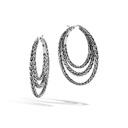 Classic Chain Medium Hoop Earring in Silver