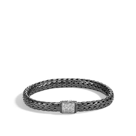 Classic Chain 7.5MM Bracelet, Blackened Silver with Diamonds