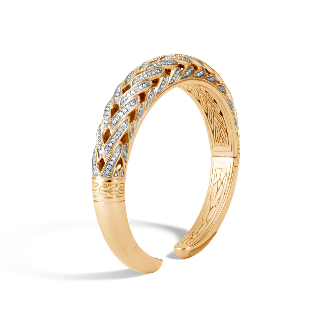 Classic Chain 11MM Graduated Kick Cuff in 18K Gold, Diamonds