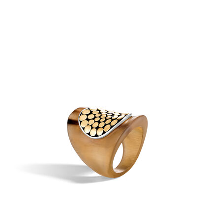 Dot Saddle Ring in Silver, 18K Gold and Buffalo Horn