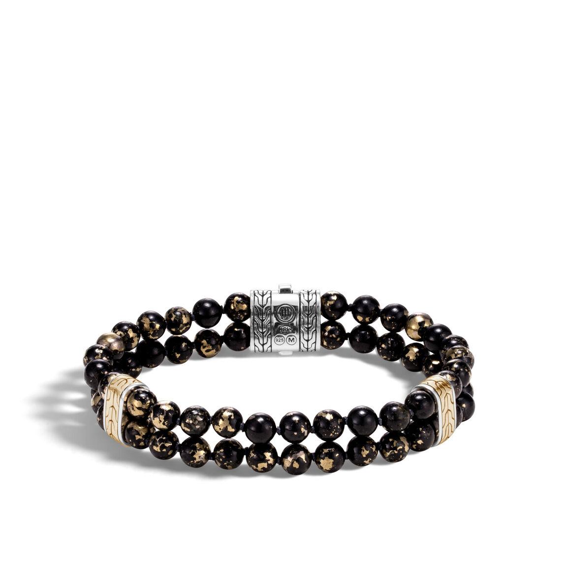 Chain Double Row Bead Bracelet, Silver, 18K Gold, 6MM Gems