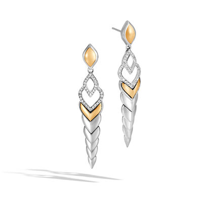 Legends Naga Drop Earring, Silver and 18K Gold with Diamonds