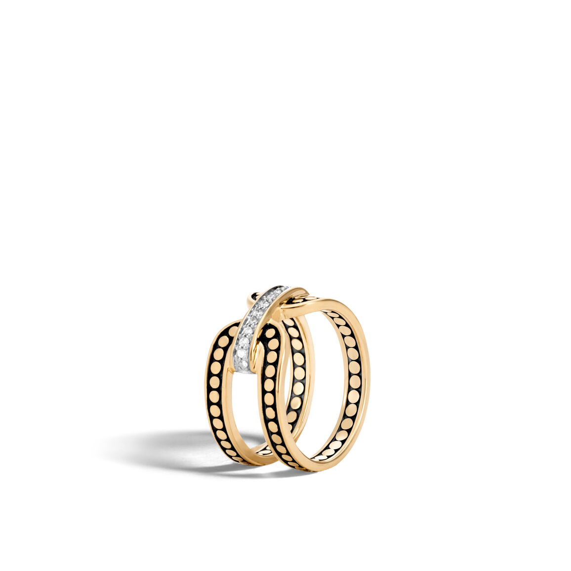 Dot 10.5MM Band Ring in 18K Gold with Diamonds
