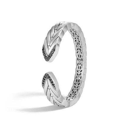 Modern Chain 14MM Kick Cuff in Brushed Silver with Gemstone
