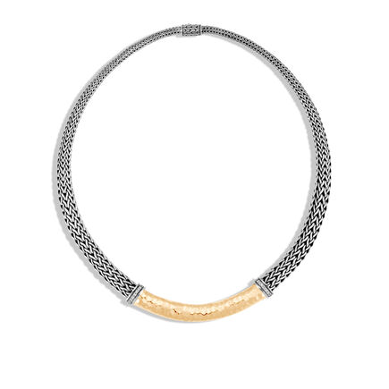 Classic Chain 8MM Graduated Necklace Silver, Hammered Gold, Dia