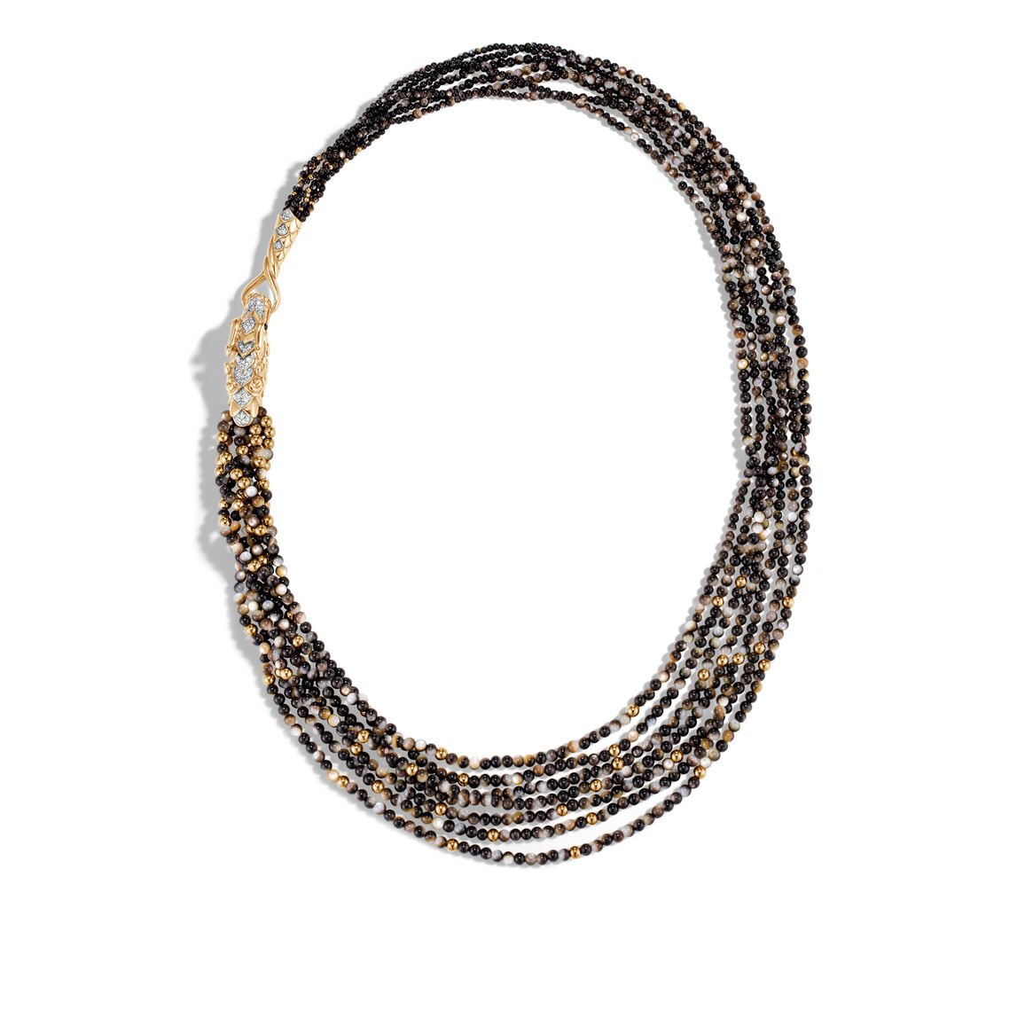 Legends Naga Bib Necklace 18K Gold with Gemstone, Diamonds